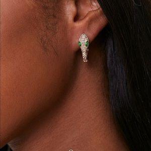 Rhinestone Snake Hoop Earrings Diamond Green